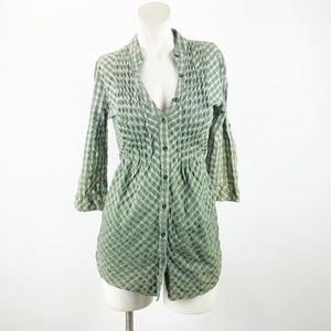 🔥Daytrip Green Ombre Plaid Tie Back Tunic